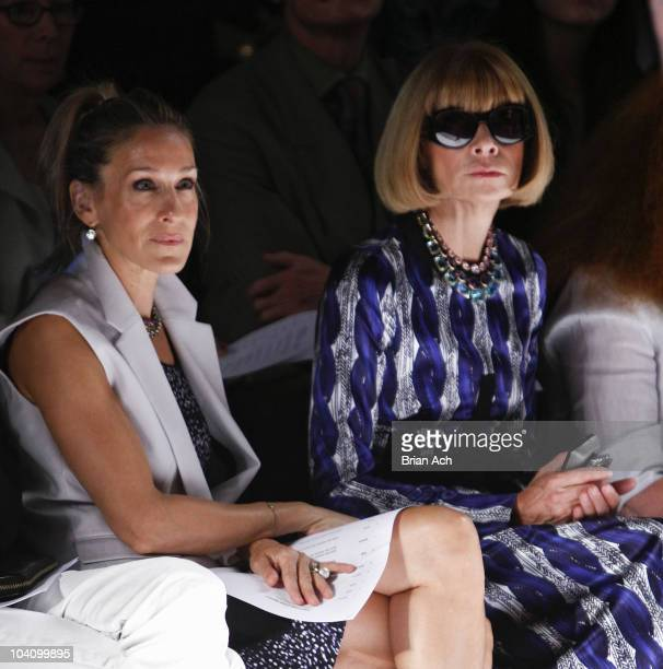 Actress Sarah Jessica Parker and Vogue editor Anna Wintour attend the Narciso Rodriguez Spring 2011 fashion show during MercedesBenz Fashion Week at...