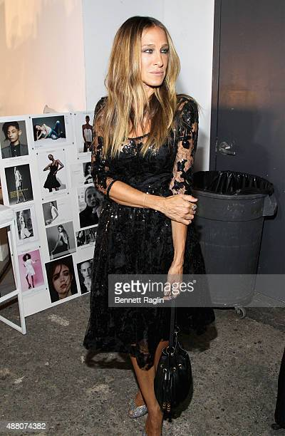 Actress Sarah Jessica Parker appears backstage at Tracy Reese S/S 2016 with SheaMoisture during New York Fashion Week at Art Beam on September 13...
