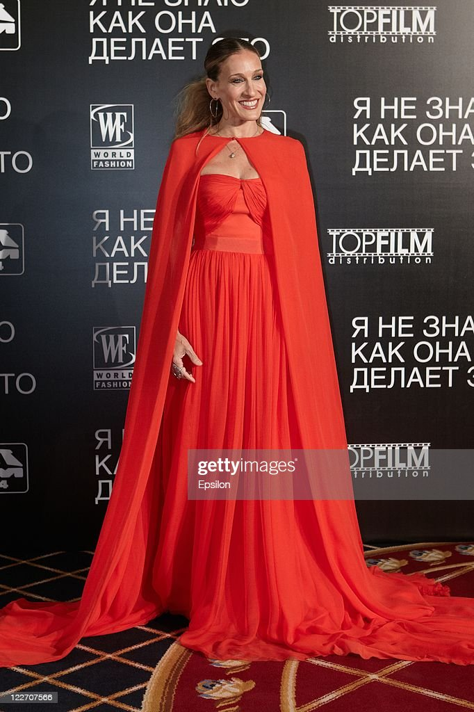 Actress Sarah Jessica Parker arrives at the film presentation of 'I Don't Know How She Does It' at Ritz Carlton hotel on August 28, 2011 in Moscow, Russia.