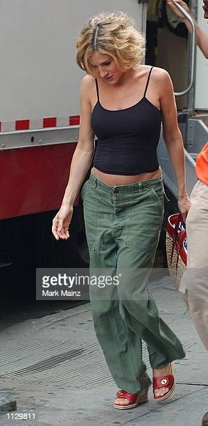 Actress Sarah Jessica Parker arrives on the set of 'Sex and the City' July 2 2002 in Soho in New York City