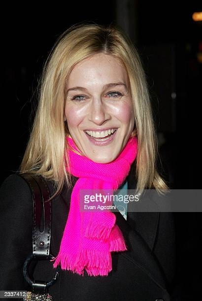Actress Sarah Jessica Parker attends the Narciso Rodriguez Fall/Winter 2003 Collection fashion show at the Pavillion in Bryant Park during...