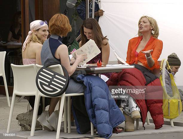 Actress Sarah Jessica Parker Cynthia Nixon Kim Cattrall and Kristin Davis on the set of the hit HBO series 'Sex and the City' May 12 2003 in the West...