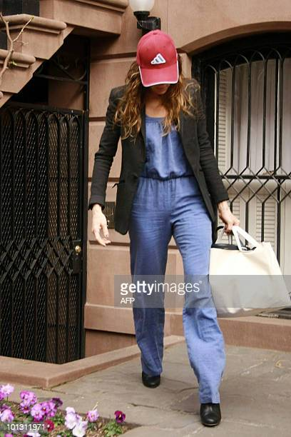 Actress Sarah Jessica Parker departs her townhouse to appear on The View to promote her new film Smart People in West Village New York City New York...