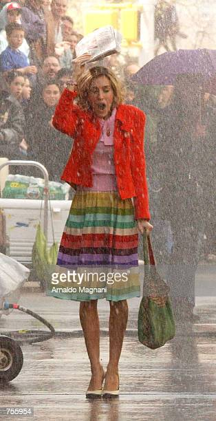 Actress Sarah Jessica Parker films a scene from 'Sex and the City' on the corner of 90th Street and 5th Avenue April 02 2002 in New York City
