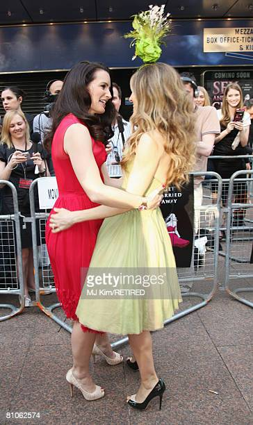 Actress Sarah Jessica Parker greets Kristin Davis as they attend the World Premiere of 'Sex And The City' held at the Odeon Leicester Square on May...