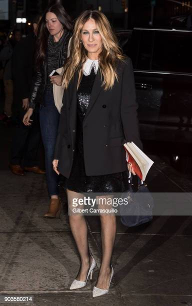 Actress Sarah Jessica Parker is seen arriving at 'The Late Show With Stephen Colbert' at the Ed Sullivan Theater on January 10 2018 in New York City