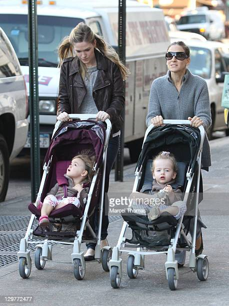Actress Sarah Jessica Parker is seen with daughters Marion and Tabitha Broderick on the streets of Manhattan on October 20 2011 in New York City