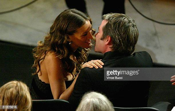 Actress Sarah Jessica Parker kisses her husband actor Matthew Broderick during the 56th Annual Primetime Emmy Awards at the Shrine Auditorium...