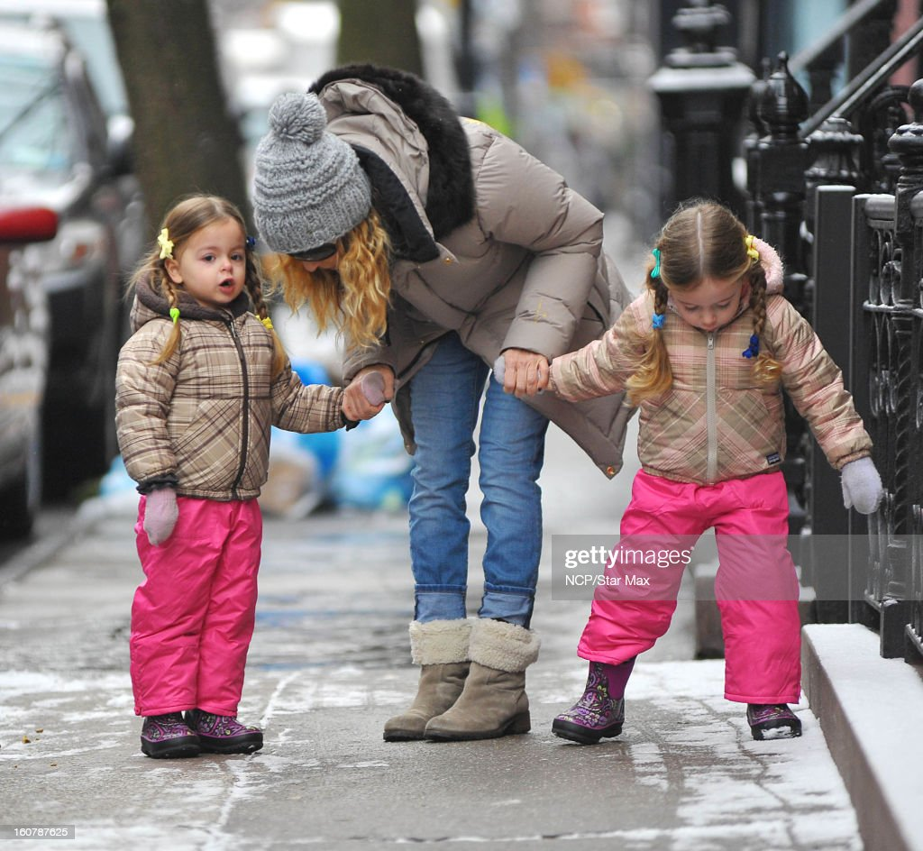Actress Sarah Jessica Parker, Marion Loretta Elwell Broderick and Tabitha Hodge Broderick as seen on February 5, 2013 in New York City.