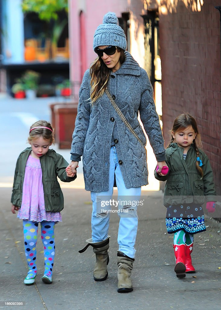 Actress Sarah Jessica Parker, Marion Loretta Elwell Broderick and Tabitha Hodge Broderick are seen in the West Village on October 28, 2013 in New York City.