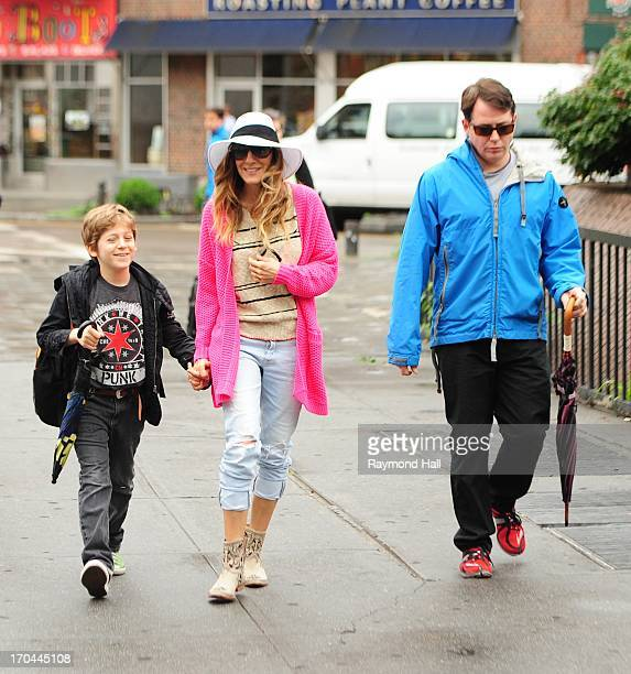 Actress Sarah Jessica Parker, Matthew Broderick and James Wilke Broderick are seen in West Village on June 13, 2013 in New York City.