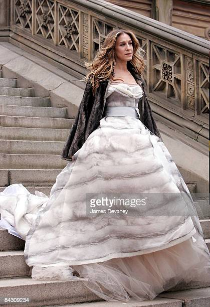 Actress Sarah Jessica Parker on location for Annie Leibowitz's Vogue 'Sex and the city' photo shoot in Central Park on March 7 2008 in New York City