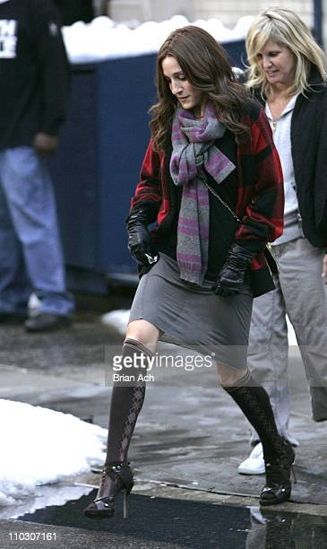 Actress Sarah Jessica Parker on location for Sex and the City The Movie on October 1 in New York City