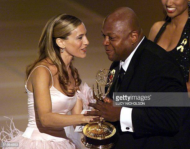Actress Sarah Jessica Parker presents the Emmy to Charles Dutton for Directing a Miniseries Movies or Special category for his work on The Corner...