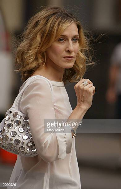 Actress Sarah Jessica Parker rehearses a scene for the hit HBO series Sex and the City June 17 2003 in SoHo New York City