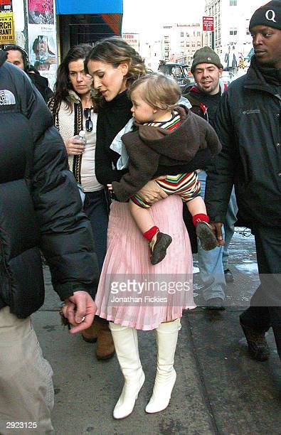 Actress Sarah Jessica Parker returns to her trailer with son James after filming a scene for 'Sex And The City' on February 02, 2004 in downtown New...