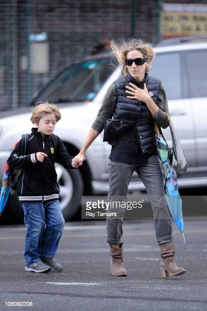 Actress Sarah Jessica Parker takes her son James Wilke Broderick to school in the West Village on October 7 2010 in New York City