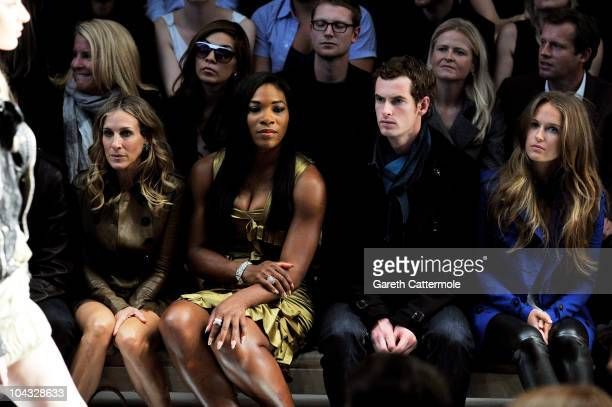 Actress Sarah Jessica Parker tennis player Serena Williams tennis player Andy Murray and Kim Sears attend the Burberry Prorsum Spring/Summer 2011...