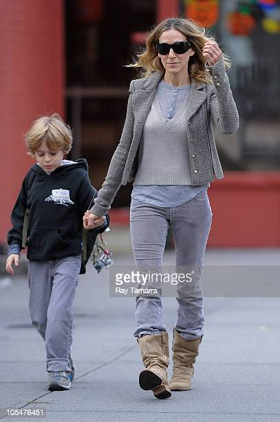 Actress Sarah Jessica Parker walks her son James Wilkie Broderick to school in the West Village on October 15 2010 in New York City