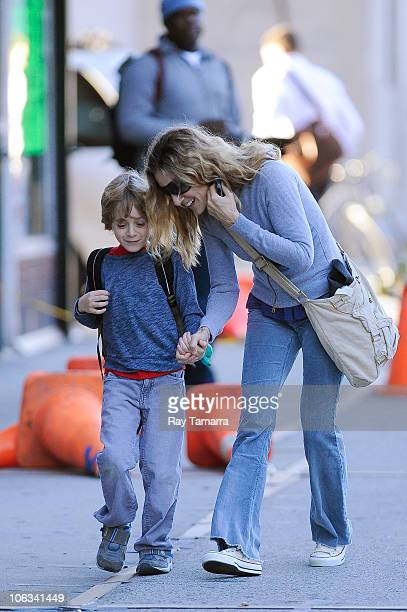 Actress Sarah Jessica Parker walks her son James Wilkie Broderick to school in the West Village on October 28 2010 in New York City