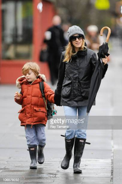 Actress Sarah Jessica Parker walks her son James Wilkie Broderick to his West Village school on November 5 2010 in New York City