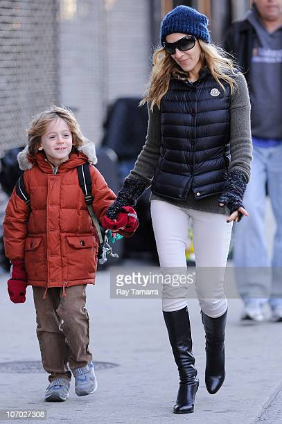 Actress Sarah Jessica Parker walks her son James Wilkie Broderick to his West Village school on November 19 2010 in New York City