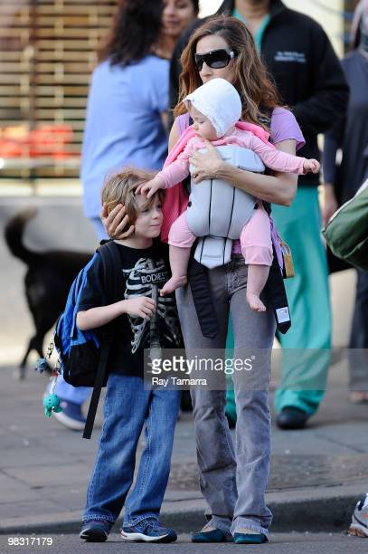 Actress Sarah Jessica Parker walks in the West Village with her son James Wilkie Broderick and her daughter on April 07 2010 in New York City