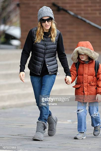 Actress Sarah Jessica Parker walks with her son James Wilkie Broderick on November 30 2010 in New York City