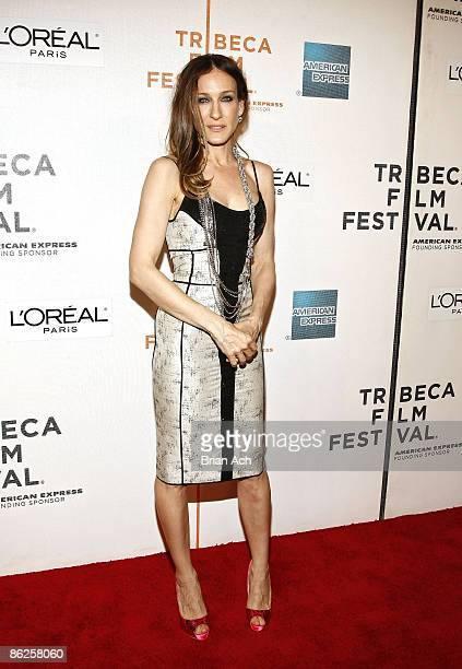Actress Sarah Jessica Parker wearing Narciso Rodriguez attends the 8th Annual Tribeca Film Festival Wonderful World premiere at BMCC Tribeca...