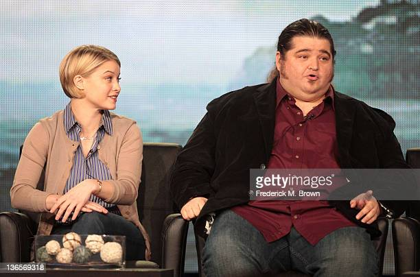 Actress Sarah Jones and actor Jorge Garcia speak onstage during the 'Alcatraz' panel during the FOX Broadcasting Company portion of the 2012 Winter...