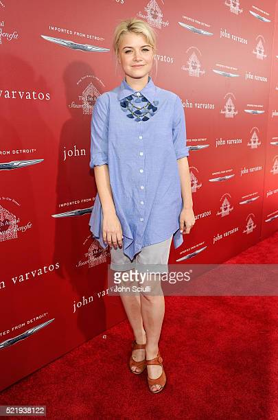 Actress Sarah Jones attends the John Varvatos 13th Annual Stuart House benefit presented by Chrysler with Kids' Tent by Hasbro Studios at John...