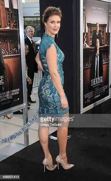 Actress Sarah Lancaster arrives at the Los Angeles premiere of The Judge at AMPAS Samuel Goldwyn Theater on October 1 2014 in Beverly Hills California