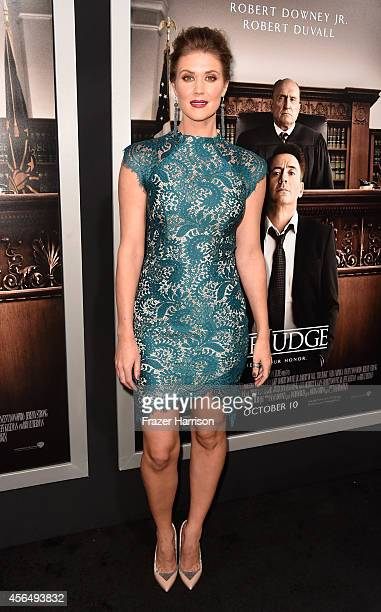 Actress Sarah Lancaster arrives for the Warner Bros Pictures and Village Roadshow Pictures' Premiere of 'the Judge' at AMPAS Samuel Goldwyn Theater...