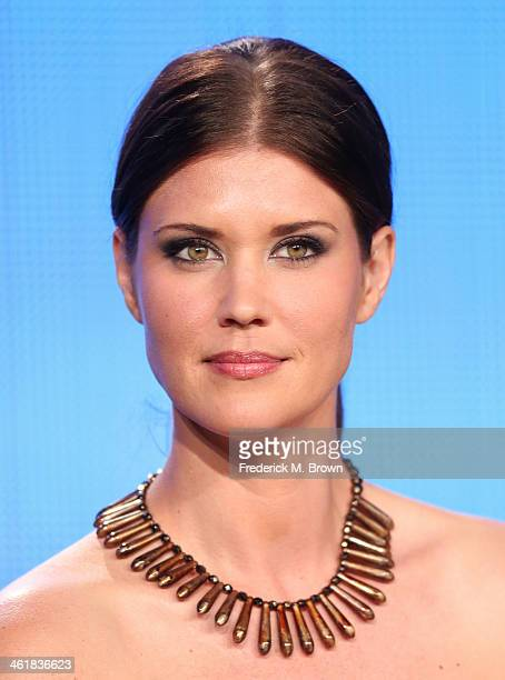 Actress Sarah Lancaster speaks onstage during the 'Love Finds You in Sugar Creek Ohio' panel discussion at the UP portion of the 2014 Winter...