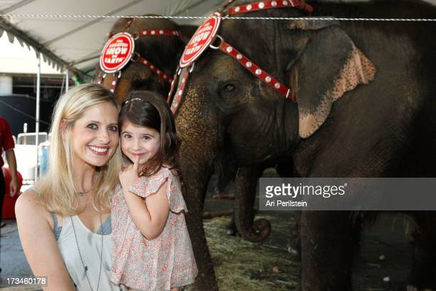 """Actress Sarah Michelle Gellar and daughter attend Ringling Bros. And Barnum & Bailey Circus presents """"Built To Amaze!"""" at Staples Center on July 14,..."""