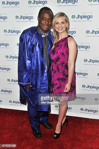 Actress Sarah Michelle Gellar and Dr Alain Damiba attend Jhpiego's 'Laughter Is The Best Medicine' event at Regent Beverly Wilshire Hotel on May 19...
