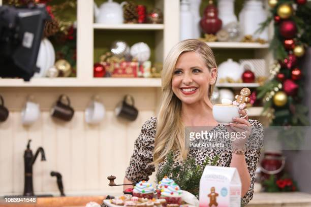 """Actress Sarah Michelle Geller visits Hallmark's """"Home & Family"""" at Universal Studios Hollywood on December 17, 2018 in Universal City, California."""