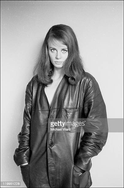 Actress Sarah Miles posing in a leather jacket 1963