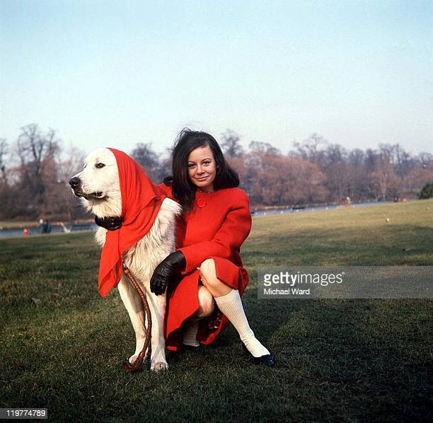 Actress Sarah Miles wearing a red coat in the park with her pet dog