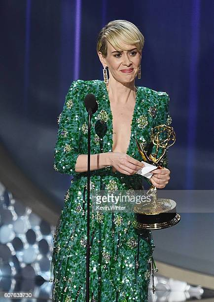 Actress Sarah Paulson accepts Outstanding Lead Actress in a Limited Series or Movie for 'The People v OJ Simpson American Crime Story' onstage during...