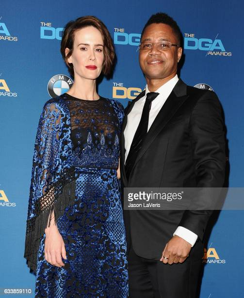 Actress Sarah Paulson and actor Cuba Gooding Jr pose in the press room at the 69th annual Directors Guild of America Awards at The Beverly Hilton...