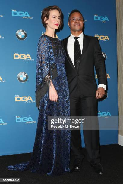 Actress Sarah Paulson and actor Cuba Gooding Jr pose in the press room during the 69th Annual Directors Guild of America Awards at The Beverly Hilton...