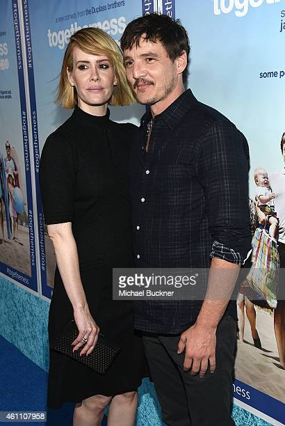 Actress Sarah Paulson and actor Pedro Pascal attends the premiere of HBO's 'Togetherness' at Avalon on January 6 2015 in Hollywood California