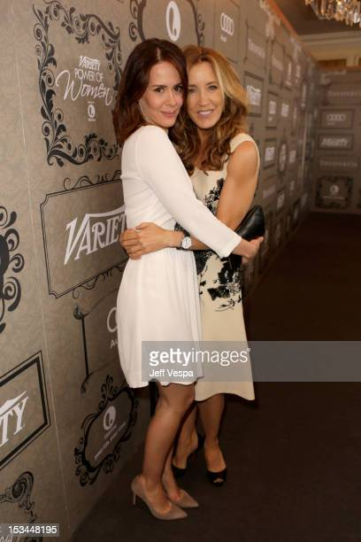 Actress Sarah Paulson and Actress Felicity Huffman arrive at Variety's 4th Annual Power of Women Event Presented by Lifetime at the Beverly Wilshire...