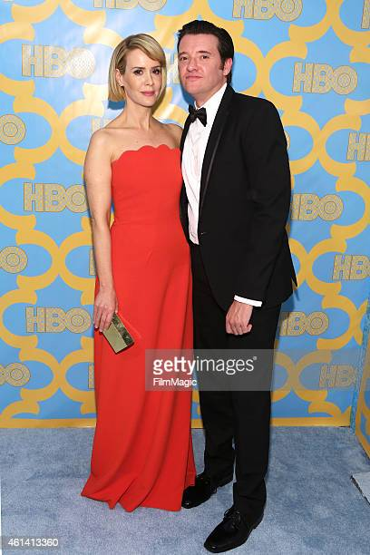 Actress Sarah Paulson and guest attends HBO's Official Golden Globe Awards After Party at The Beverly Hilton Hotel on January 11 2015 in Beverly...