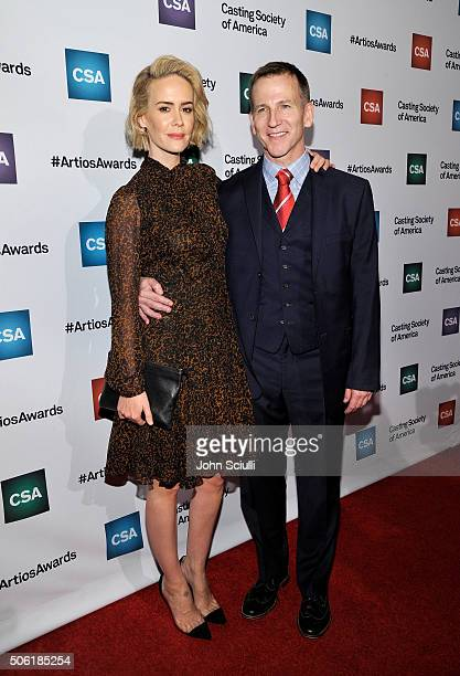 Actress Sarah Paulson and Richard Hicks arrive for the Casting Society of America's 31st Annual Artios Awards at The Beverly Hilton Hotel on January...