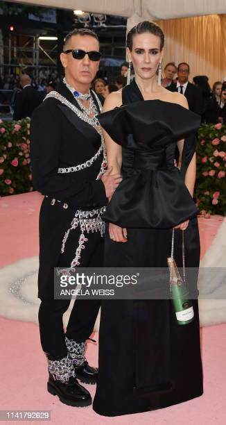 US actress Sarah Paulson and US designer Jeremy Scott arrive for the 2019 Met Gala at the Metropolitan Museum of Art on May 6 in New York The Gala...
