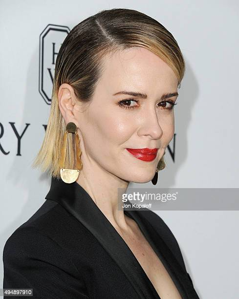 Actress Sarah Paulson arrives at amfAR's Inspiration Gala Los Angeles at Milk Studios on October 29 2015 in Hollywood California