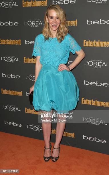Actress Sarah Paulson arrives at Entertainment Weekly's Pre-Emmy Party at Fig & Olive Melrose Place on September 20, 2013 in West Hollywood,...