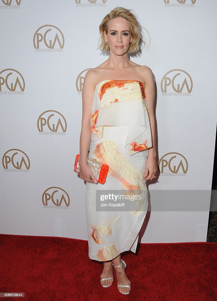 Actress Sarah Paulson arrives at the 27th Annual Producers Guild Awards at the Hyatt Regency Century Plaza on January 23, 2016 in Century City, California.